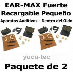 PAQUETE de 2 EAR MAX® Fuerte RECARGABLE Pequeño-  Sordera Aparatos Auditivos - Dentro Del Oído