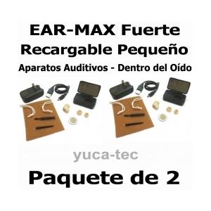 PAQUETE de 2 EAR MAX� Fuerte RECARGABLE Peque�o-  Sordera Aparatos Auditivos - Dentro Del O�do