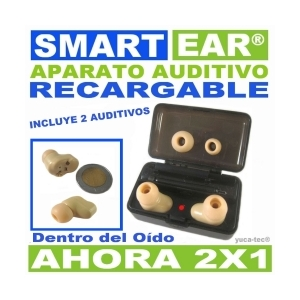 SMART EAR� Aparato Auditivo RECARGABLE Dentro Del O�do - AHORA 2 X 1