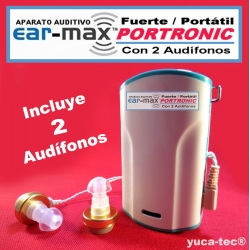 EAR MAX® PORTRONIC - Fuerte & Portátil Aparato Auditivo con 2 Audífonos