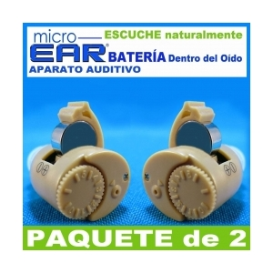 Paquete de 2 MICRO EAR� Aparato Auditivo - Dentro del O�do