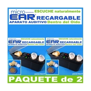 Paquete de 2 MICRO EAR� Aparato Auditivo RECARGABLE Dentro del O�do