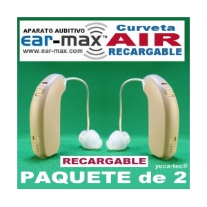 Paquete de 2 EAR MAX� AIR Aparato Auditivo Curveta RECARGABLE Discreto