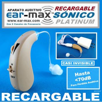 EAR-MAX® SÓNICO PLATINUM RECARGABLE Aparato Auditivo Con 2 Canales de Frecuencia - Estilo Curveta
