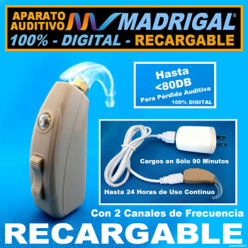 Aparato Auditivo MADRIGAL® RECARGABLE - 100% DIGITAL Con 2 Canales de Frecuencia -Estilo Curveta