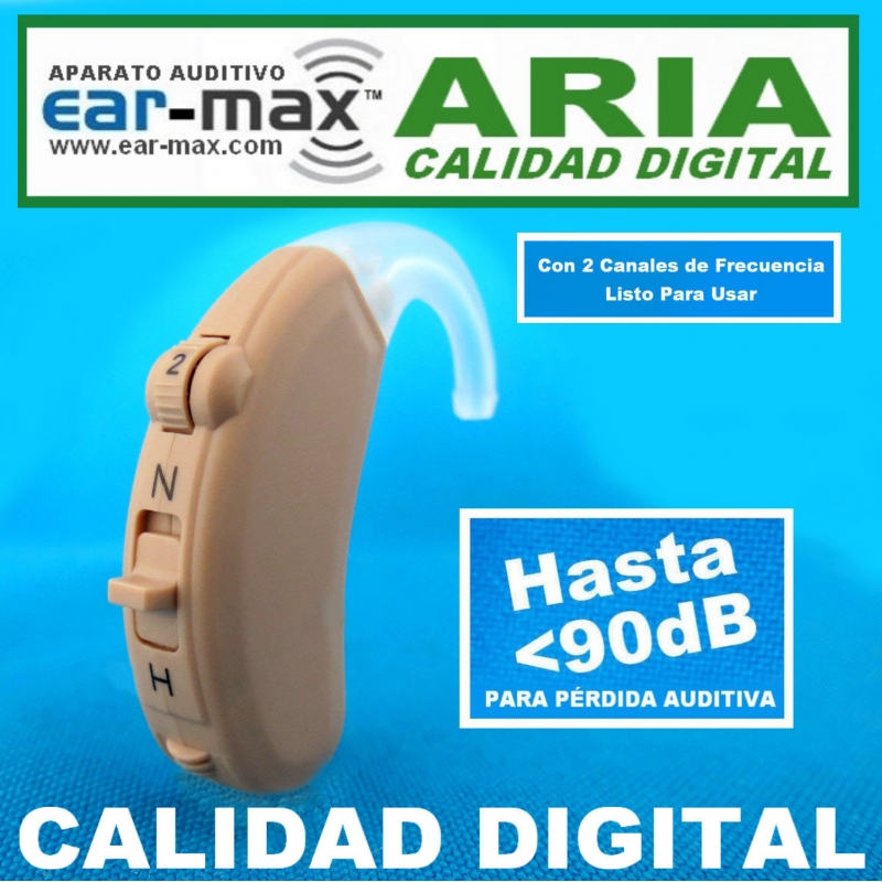 Ear Max® ARIA – CALIDAD DIGITAL - Aparato Auditivo Auxiliar – Estilo Curveta