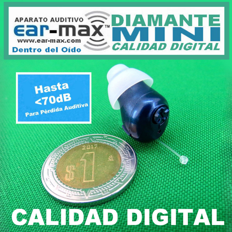 Ear Max® Diamante MINI - Aparato Auditivo Auxiliar - Dentro Del Oído – CALIDAD DIGITAL