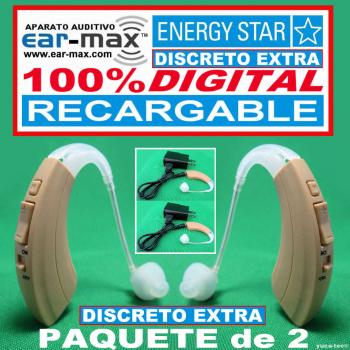 Paquete de 2 EAR MAX® ENERGY STAR DISCRETO EXTRA RECARGABLE - Aparato Auditivo 100% DIGITAL