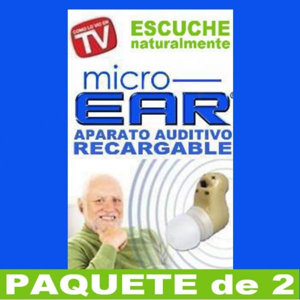 Paquete de 2 MICRO EAR® Aparato Auditivo RECARGABLE Dentro del Oído