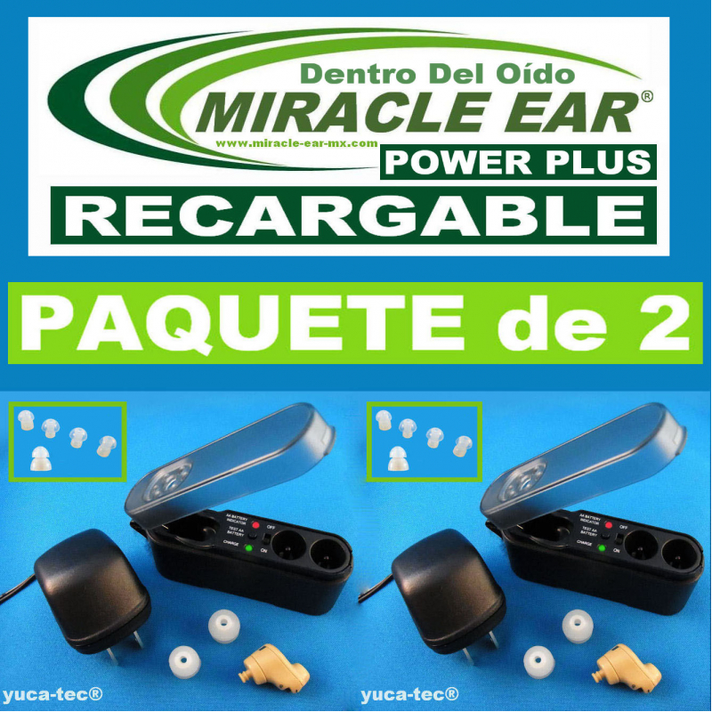 Paquete de 2 MIRACLE EAR® POWER PLUS Aparato Auditivo RECARGABLE Dentro del Oído