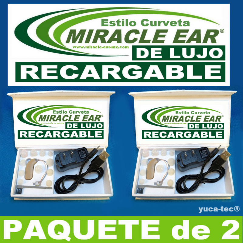 Paquete de 2 MIRACLE EAR® DE LUJO Aparato Auditivo RECARGABLE Curveta