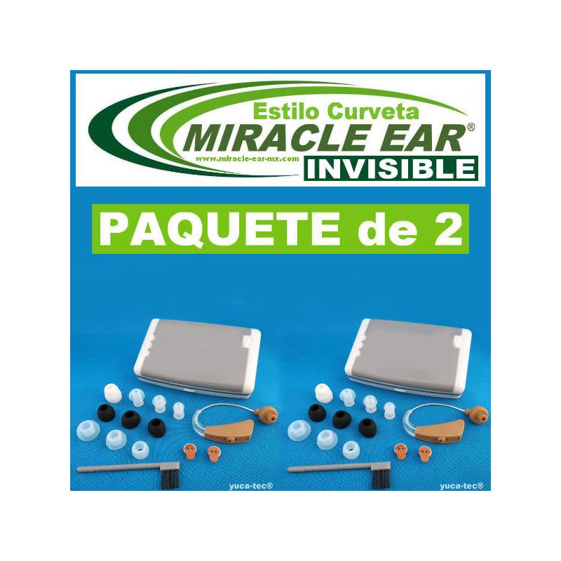 Paquete de 2 MIRACLE EAR® INVISIBLE Aparato Auditivo BATERÍA Estilo Curveta